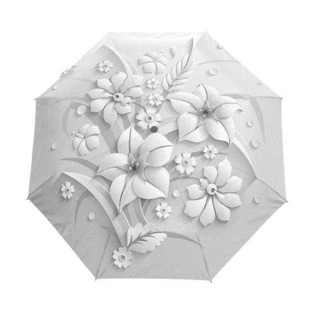 Полностью автоматический 3D Цветочный Guarda Chuva белый китайский зонт от солнца 3 складной зонтик дождь для женщин солнцезащитный наружный путешествия Sombrinha