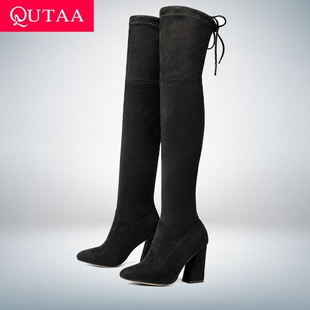 QUTAA/Новинка 2018, женские сапоги выше колена из флока, пикантная Осенняя женская обувь на высоком каблуке со шнуровкой, зимние женские сапоги, размеры 34-43