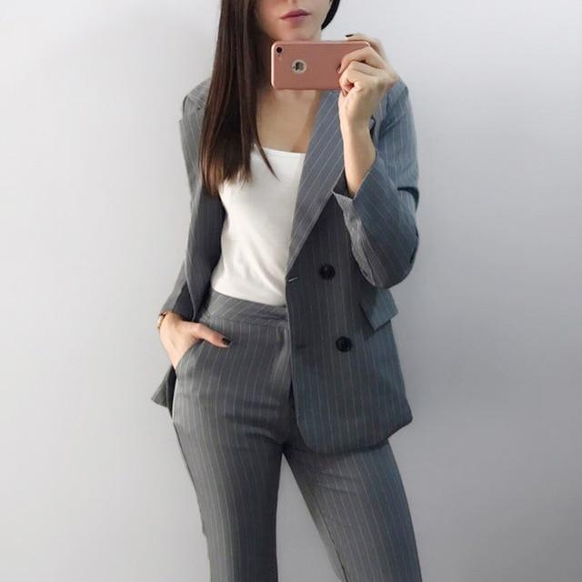 Рабочие модные брючный костюм комплект из 2 частей для Для женщин двубортный в полоску Блейзер Куртки и брюк Офисные женские туфли костюм 2018 брючный костюм женский