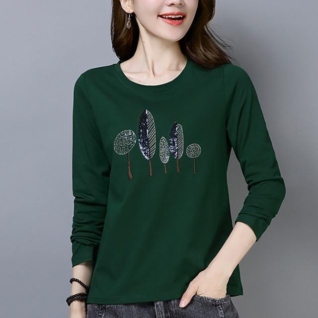 Shintimes футболка Femme рубашка с длинными рукавами Для женщин футболка хлопок Корейская одежда футболка Femme 2018 футболка Для женщин s Костюмы осень