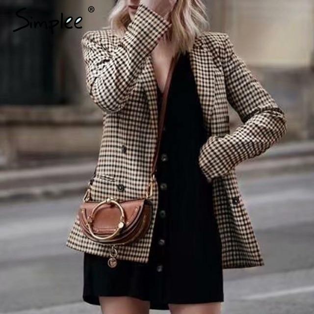 Simplee мода двубортный клетчатый Блейзер женский с длинным рукавом Женские офисные 2018 осенняя куртка для женщин верхняя одежда пальто