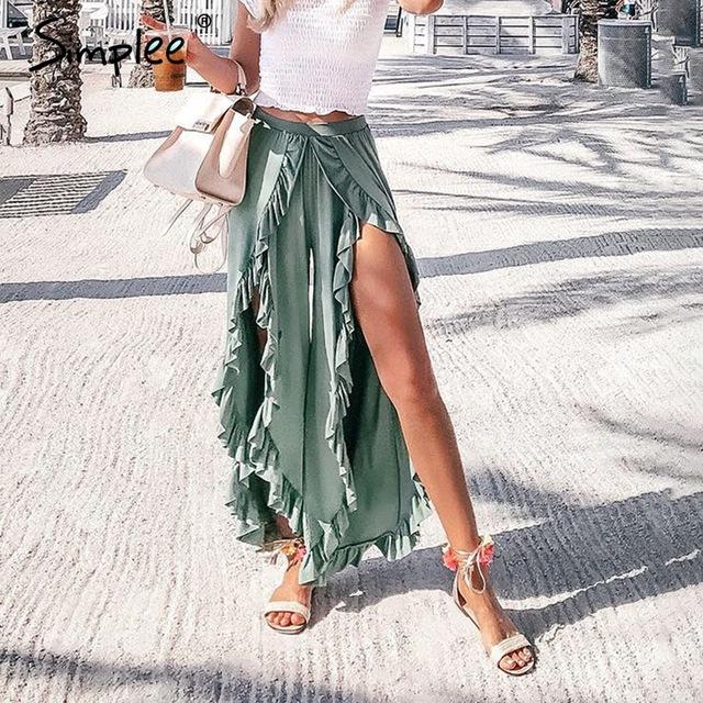Simplee сексуальные оборки повседневные женские брюки Капри с высокой талией мешковатые Сплит летние брюки женские широкие брюки Нижняя 2018