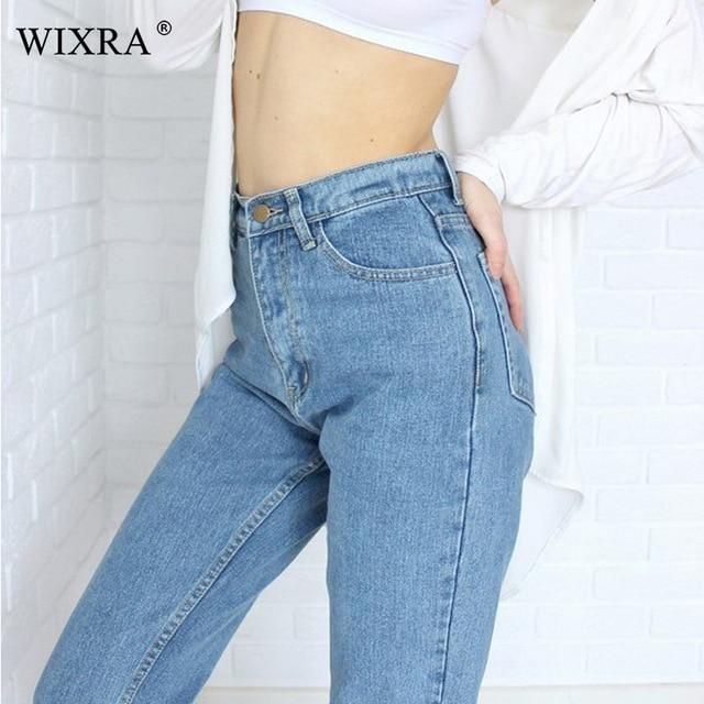 WIXRA базовые джинсы классические 4 Сезона Женские джинсы с высокой талией Винтаж мама стиль карандаш джинсы высокого качества ковбойские джинсовые брюки