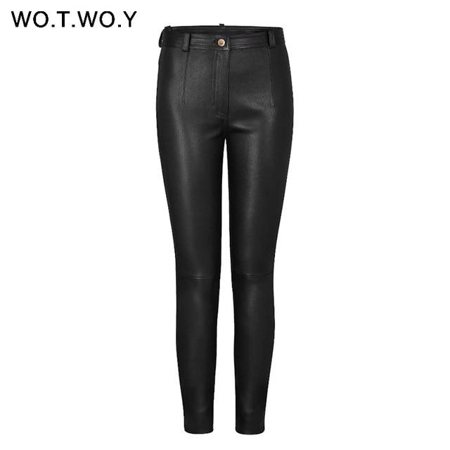 WOTWOY осень-зима Высокая талия кожаные штаны Для женщин флис брюки из искусственной кожи Для женщин карманов Повседневное черные брюки-карандаш 2018