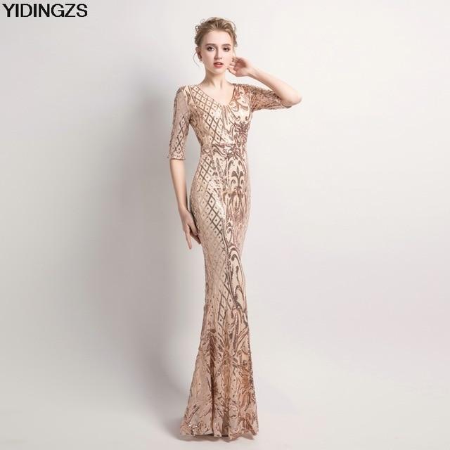 YIDINGZS женское элегантное платье-Русалка с золотыми пайетками с коротким рукавом вечернее вечерние платье для вечеринки длинное платье для выпускного вечера