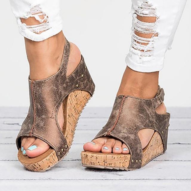 Женские босоножки 2018 Босоножки на платформе женская обувь на танкетке на каблуке Sandalias Mujer Летняя обувь кожа клин сандалии на каблуке 43