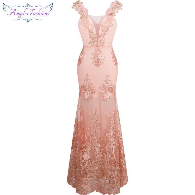 Женское кружевное вечернее платье с v-образным вырезом и вышивкой, украшенное цветами и русалочкой, розовое, 310