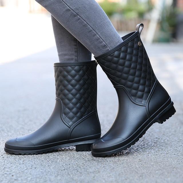 Зимние сапоги, фирменный дизайн, сапоги для дождливой погоды, Женская однотонная резиновая непромокаемая обувь на плоской подошве, модная обувь