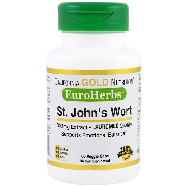 California Gold Nutrition, Экстракт зверобоя, EuroHerbs, европейское качество, 300 мг, 60 вегетарианских капсул