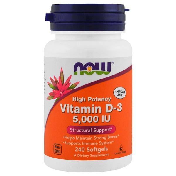 Now Foods, ВитаминD-3, 5000МЕ, 240мягких таблеток