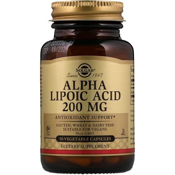 Solgar, Альфа-липоевая кислота, 200 мг, 50 растительных капсул