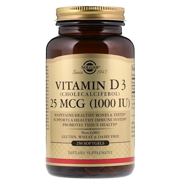 Solgar, ВитаминD3 (холекальциферол), 1000МЕ, 250мягких таблеток