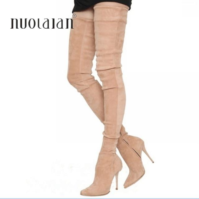 2018 г. брендовые эластичные замшевые сапоги до бедра на высоком каблуке женские зимние сапоги пикантные ботфорты на шпильке женская обувь