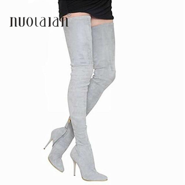 2018 г. Брендовые женские сапоги осень-зима высокие эластичные облегающие сапоги до бедра модные ботфорты женская обувь на высоком каблуке