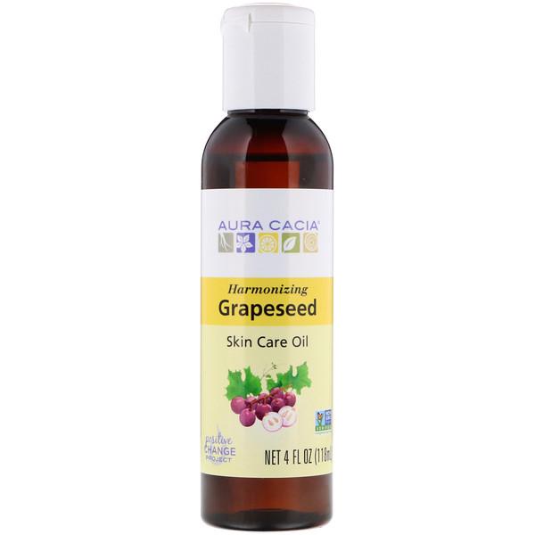 Aura Cacia, Skin Care Oil, Harmonizing Grapeseed, 4 fl oz (118 ml)