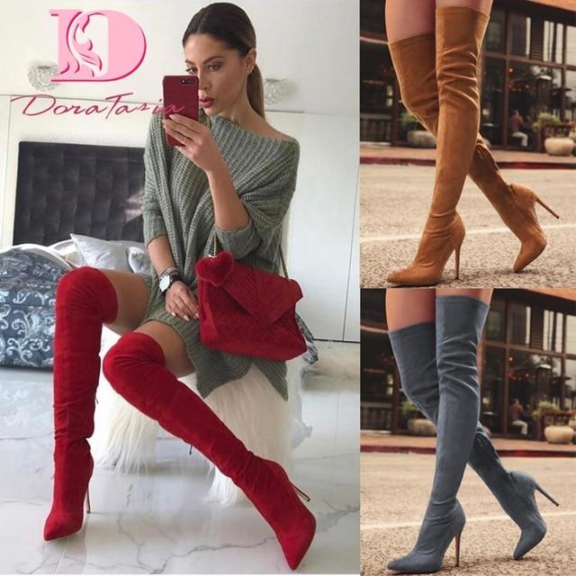 DoraTasia/Новая Брендовая женская обувь женские ботинки осенние сапоги выше колена больших размеров 31-43 обувь на тонком высоком каблуке пикантные вечерние сапоги