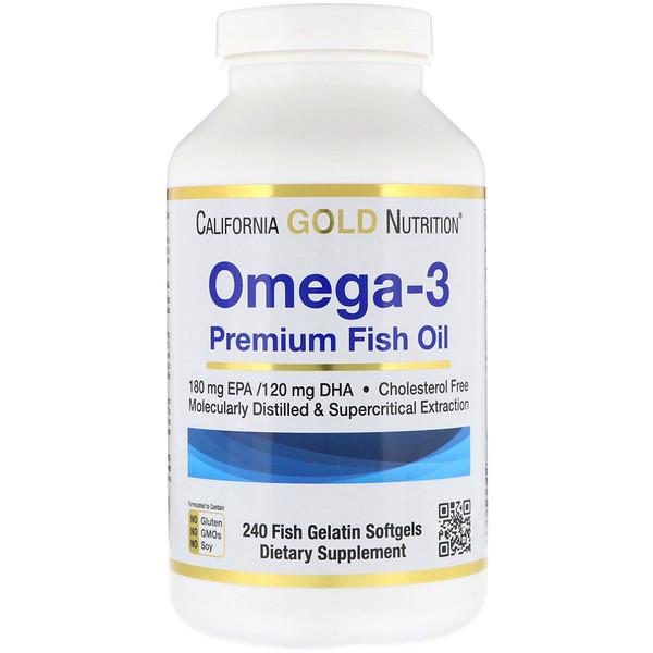 California Gold Nutrition, Омега-3, Рыбий жир премиум-класса, 240 желатиновых мягких таблеток
