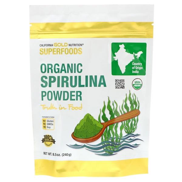 California Gold Nutrition, Суперфуд, Порошок органической спирулины, 8,5 унц. (240 г)
