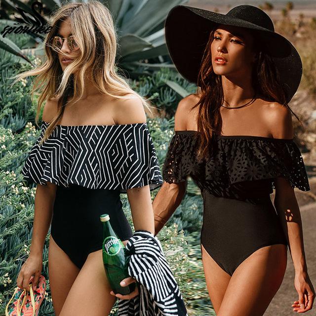 2018 новый сексуальный закрытый женский купальник с открытыми плечами цельный купальник женский купальный костюм гофрированное платье Монокини одежда для плавания XL