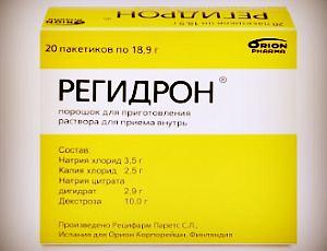 Препарат Регидрон для восстановления жидкости и электролитов при диарее