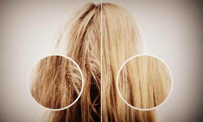 Коллагенирования волос - результат До и После